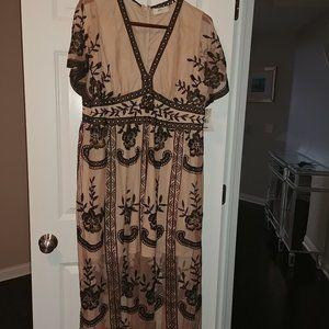 nwt altar'd state lace tan/ black maxi dress 22 24